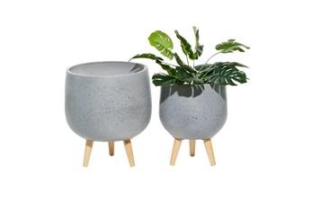 Grey Wood Planter Set Of 2