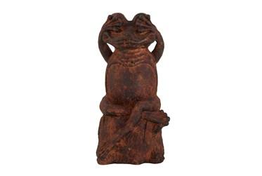 18 Inch Rust Frog Garden Sculpture