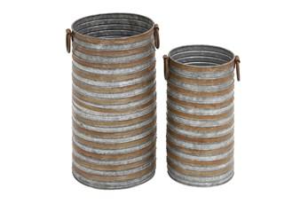 Grey Iron Planter Set Of 2