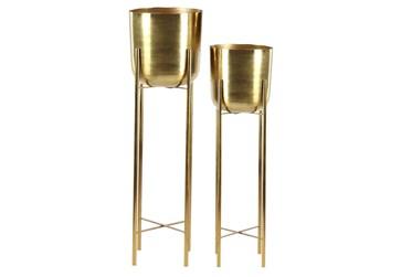 Gold Iron Planter Set Of 2