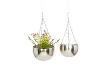 Silver Iron Hanging Planter Set Of 2