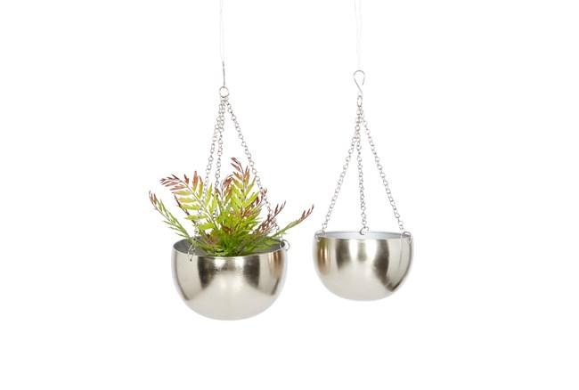 Silver Iron Hanging Planter Set Of 2 - 360