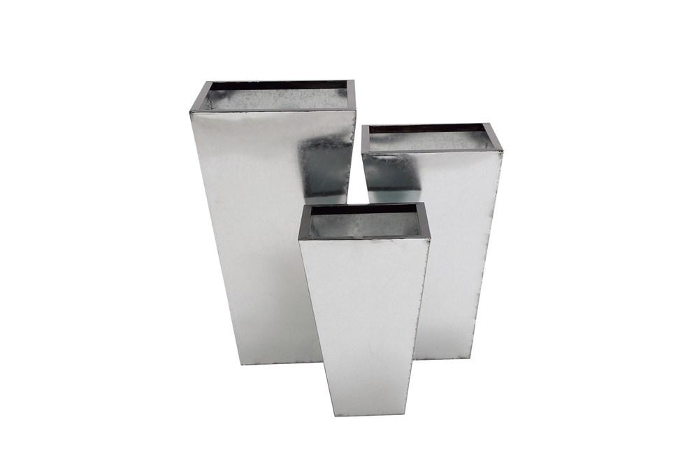 Silver Tin Planter Set Of 3