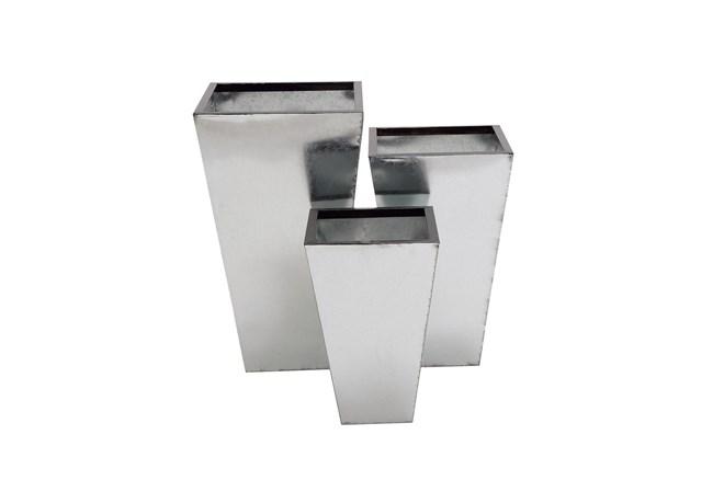 Silver Tin Planter Set Of 3 - 360