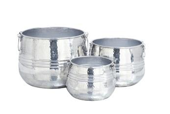 Silver Aluminum Planter Set Of 3
