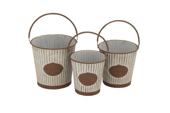 Silver Tin Planter Set Of 3