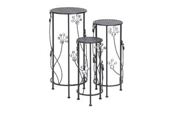 Black Iron Plantstand Set Of 3