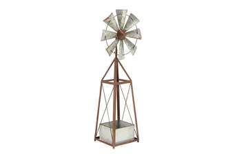 39 Inch Brown Windmill Planter