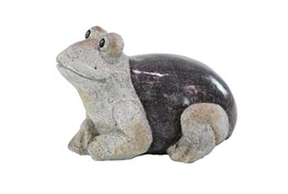 10 Inch Grey Polystone Frog Garden Sculpture