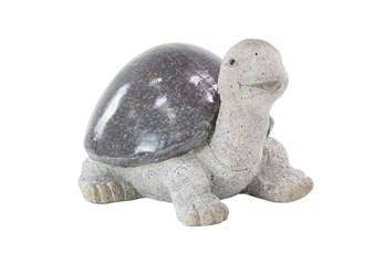 10 Inch White Polystone Turtle Garden Sculpture