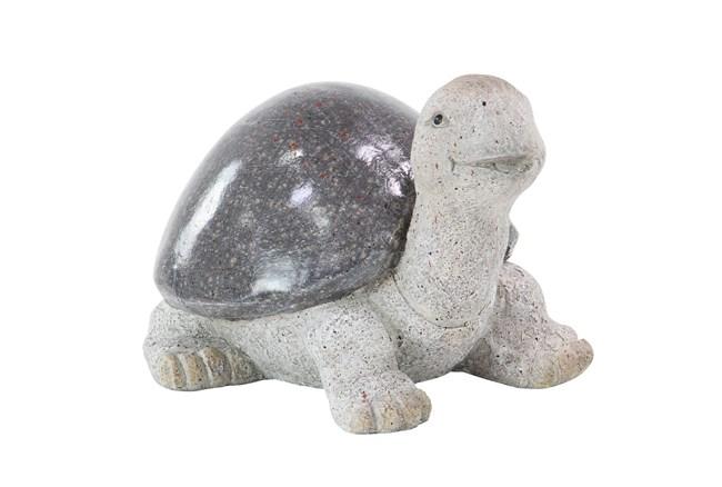 10 Inch White Polystone Turtle Garden Sculpture - 360