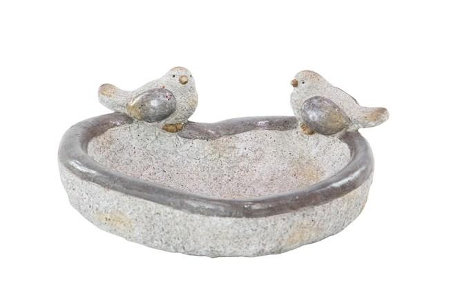 6 Inch Grey Polystone Bird Feeder Garden Sculpture - 360
