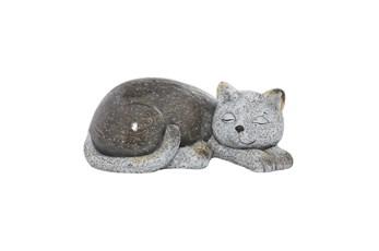 7 Inch Grey Polystone Cat Garden Sculpture