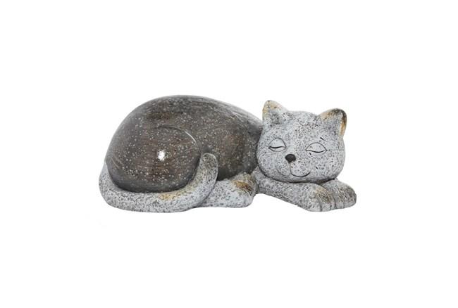 7 Inch Grey Polystone Cat Garden Sculpture - 360