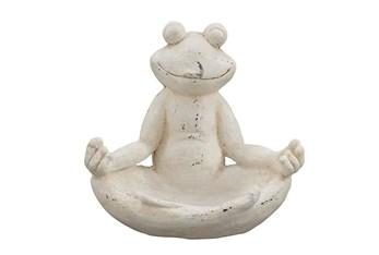 13 Inch White Polystone Frog Garden Sculpture