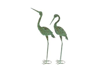 Green Iron Crane Garden Sculpture Set Of 2