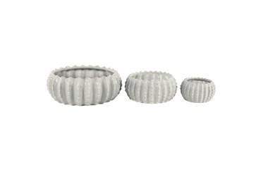 White Stoneware Planter Set Of 3