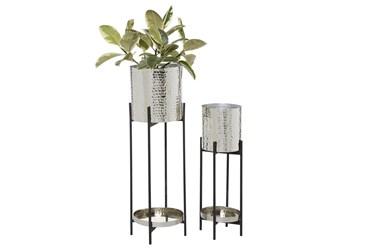 Silver Iron Planter Set Of 2