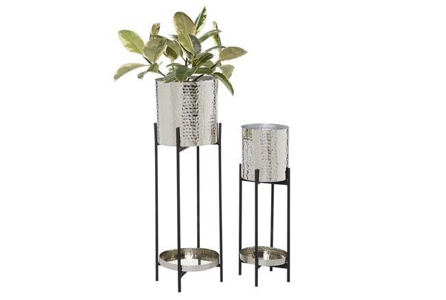 Silver Iron Planter Set Of 2 - 360