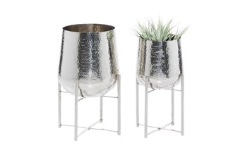Silver Stainless Steel Planter Set Of 2