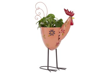 20 Inch Pink Iron Rooster Planter