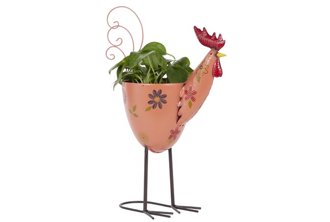 20 Inch Pink Iron Rooster Planter - 360