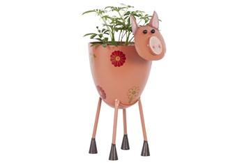 17 Inch Metal Pink Pig Planter