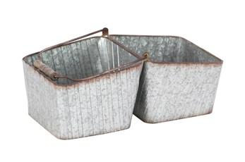 15 Inch Silver Iron Planter