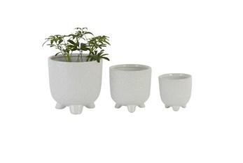 White Ceramic Planter Set Of 3