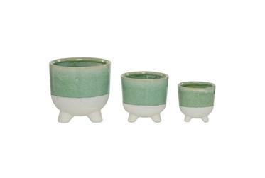 Green Ceramic Planter Set Of 3