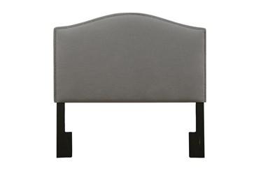 Full/Queen Ash Nail Trim Camelback Upholstered Headboard