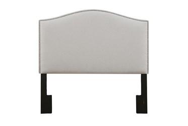 Full/Queen Linen Nail Trim Camelback Upholstered Headboard