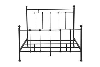 Queen Black Shaker Style Metal Panel Bed