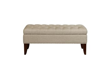Oatmeal 41 Inch Tufted Top Upholstered Storage Bench