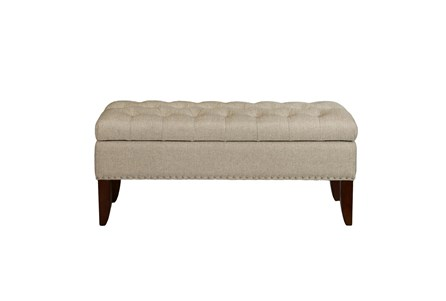 Oatmeal 41 Inch Tufted Top Upholstered Storage Bench - Main