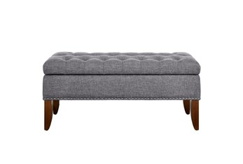 Grey 41 Inch Tufted Top Upholstered Storage Bench
