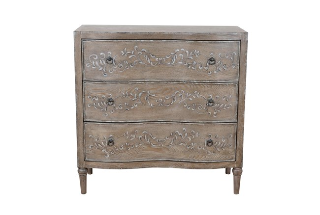 Antiqued Painted Vine 3 Drawer Chest - 360