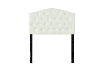 Twin Beige Button Diamond Tufted Shaped Upholstered Headboard