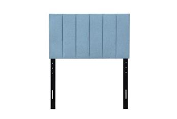 Twin Blue Vertical Channeled Upholstered Headboard