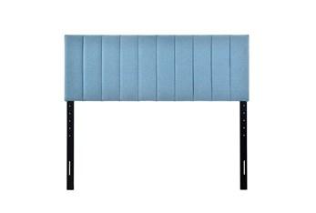 Queen Blue Vertical Channeled Upholstered Headboard