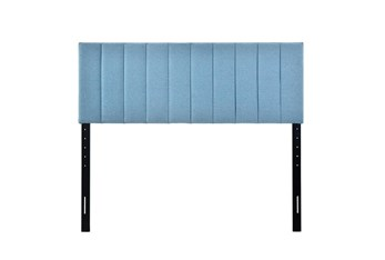 Eastern King Blue Vertical Channeled Upholstered Headboard
