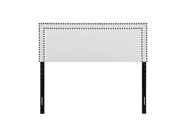 Eastern King Cream Double Row Nail Trim Upholstered Headboard