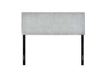 Queen Grey Modern Flange Welt Upholstered Headboard