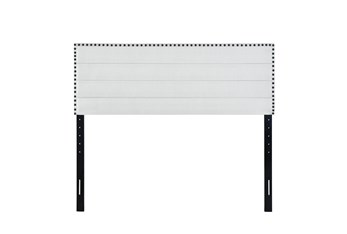 Queen Light Grey Nail Trim Horizontal Channeled Upholstered Headboard