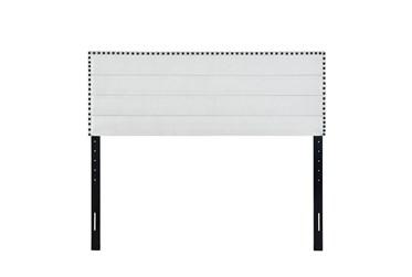 Eastern King Light Grey Nail Trim Horizontal Channeled Upholstered Headboard
