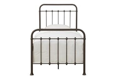 Brown Farmhouse Twin Metal Bed