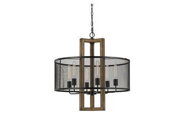 28X29 Wood & Metal 6 Light Cylinder Chandelier