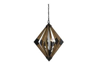 23.5X31.5 Wood 6 Light Geometric Chandelier