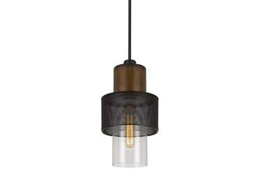 8X23 Cylinder Metal Mesh And Wood Pendant