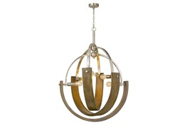 34X46.5 Metal And Wood 6 Light Orb Chandelier